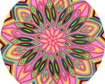 Cosmic Circle, Flower Power, Window cling, Mandala Art, Sun catcher, Boho Hippie, Spirituality, Non-adhesive sticker, EcoFriendly Gift