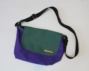 Green and Purple Retro Satchel Bag