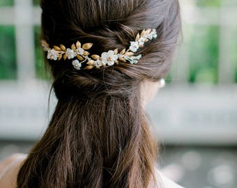 bridal headpiece, bridal hair vine, wedding headpiece, bridal comb, wedding hair vine, back headpiece, gold headpiece - LAUREL