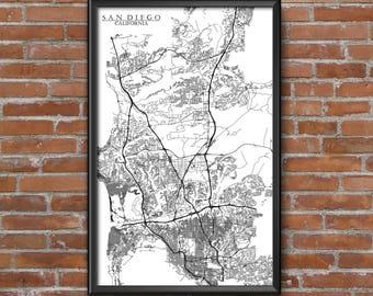 San Diego, California Map Art