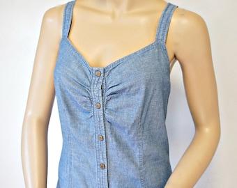 Sundress Vintage Denim Tommy Hilfiger Snap Front Summer Dress Size
