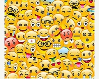 20% off thru Apr 24th EMOJI cotton print by the HALF yard packed EMOTICONS smiley faces Northcott Fabric 21840-52
