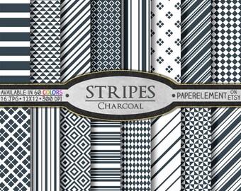 Charcoal Stripe Printable Digital Paper Pack Scrapbook Patterns - Instant Download
