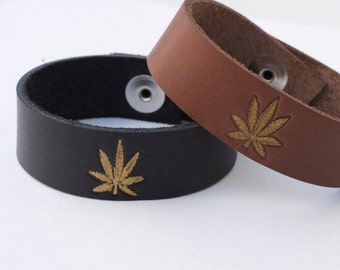 Cannabis leather bracelet - stamped leather bracelet - marijuana leather bracelet - weed leather bracelet