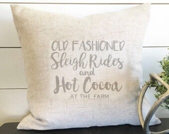 Sleigh Rides and Hot Cocoa Pillow Cover, Holiday Pillow, Christmas Pillow, Winter Pillow, Gift