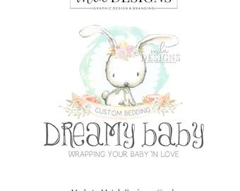 Bunny Logo - Watercolor Logo, Premade Bunny Logo, Baby Boutique Logo, Premade Logo, Watercolour Logo, Premade Custom Logo