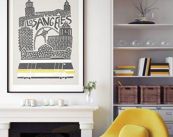 Los Angeles City Print, City Art, LA Poster, California Art, Mid Century Modern, Birthday Gift, Living Room Wall Art, Travel, Architecture