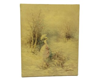 Vintage French Impressionist Lady with Parasol Painting. Victorian Lady Portrait. Original Oil Painting.