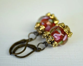 Red Rose Earrings perfect for Valentine's Day Dangle Earrings for Women