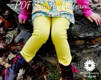 PDF Leggings Pattern, Girls Sewing Pattern, Baby Clothes Pattern, Sew Baby Leggings, Kids Sewing Pattern, Ruffle Leggings