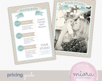 Price List - Pricing Guide Photoshop Template for Photographers - INSTANT DOWNLOAD - PG002