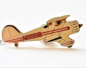 """Vintage Enamel Biplane Airplane Tie Tack Pin Bar and Chain Men's Retro Tie Jewelry Accessories Gift 2.5"""""""