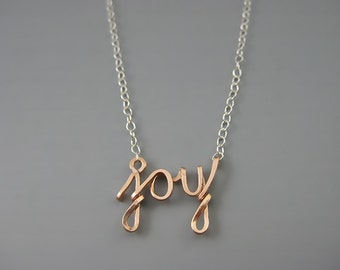 Joy Necklace - cursive wire word w/ delicate sterling silver or rose gold chain, mixed metal inspirational message jewelry