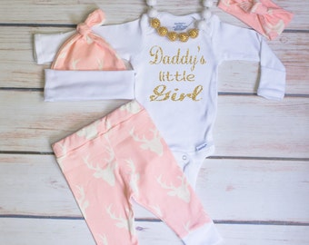 Baby Girl Coming Home Outfit, Light Pink Deer Leggings, Long Sleeve or S/S Bodysuit, Hat & Headband, Daddy's Little Girl,Country Outfit