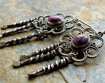 SALE! Purple Stones in Sterling Silver Flowers/Wire Wrapped Silver Dangles/Free Spirit Earrings .Rustic Boho Tribal Southwest Style Jewelry