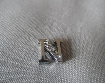 Width beads letter N with Rhinestones