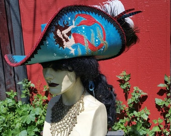 Turquoise mermaid leather pirate hat