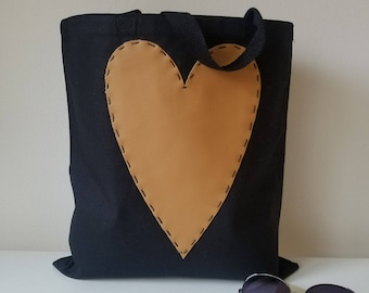 Black Heavy Canvas Tote with Tan Vegan Leather Heart