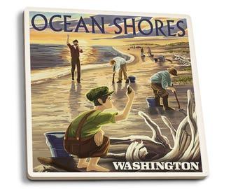 Ocean Shores, WA - Clam Diggers - LP Artwork (Set of 4 Ceramic Coasters)