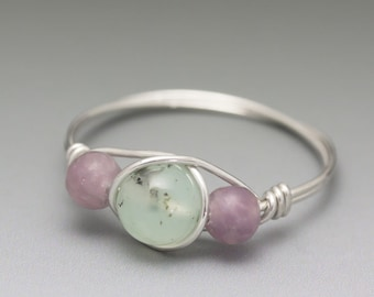 Chrysoprase & Lepidolite Sterling Silver Wire Wrapped Bead Ring - Made to Order, Ships Fast!