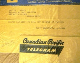 vintage ephemera  ... CANADIAN PACIFIC TELEGHRAPHS telegram 1956 ephemera no 1  ...