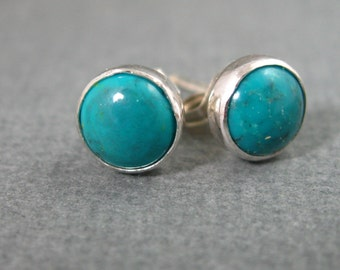 Kingman Turquoise Round Post Earrings in Sterling Silver, Artisan Turquoise 6mm Studs, Natural Turquoise Stud Earrings