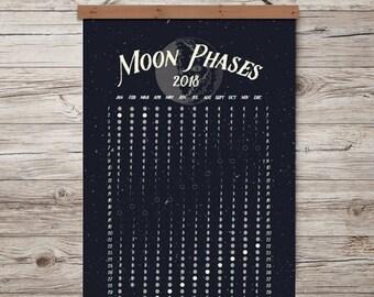 MOON PHASES 2018  |  Lunar Calendar  | Print/poster