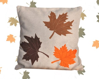 Fall pillows, maple pillow, fall decorations, autumn tree leaves, brown maple leaves, brown leaf pillow, fall pillow, leaves pillow