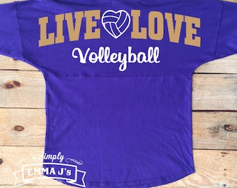 Custom shirt, Volleyball, live love volleyball, purple and gold, volleyball t-shirt, school spirit