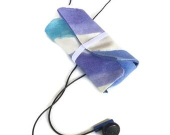 Earbud Earphone Holder Roll Case Blue Stripe
