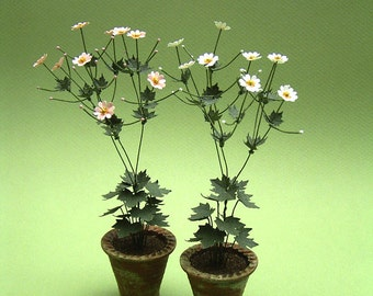 Japanese Anenome Paper Flower Kit  for 1/12th scale Dollhouses, Florists and Miniature Gardens