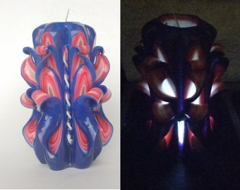 Carved candle with led Decorative candle Candles Unique candle Artistic candle Blue- red candle Gift idea Home decor