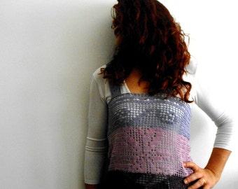 filet crochet tank top, OOAK linen cover-up, linen crochet top, plume, purple and orchid rose. Ready to ship beach camisole, beachwear