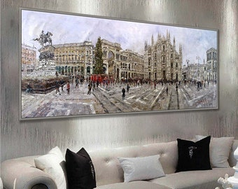 "Milano Duomo Cathedral and Galleria 27x71""/70x180cm Oil Painting"