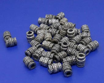 Set of 50pcs 7mm x 5mm Silver Tribal spacer beads Tibetan Beads Jewelry Jewllery findings