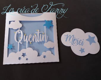 share birth or baptism cloud and stars