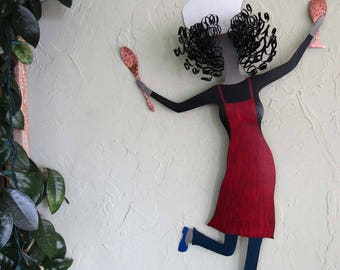 Lady Chef For the Kitchen Wall Metal Art Large Dancing Chef Dining Room Kitchen Wine Decor Red Black Recycled Metal Red Head 19 x 31