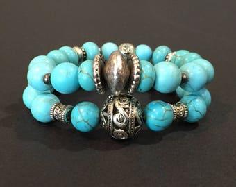 Turquoise beaded bracelets -  Turquoise bracelets - Beaded bracelet set - Beaded turquoise bracelets - Turquoise stretch bracelets