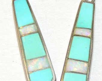 Sterling Turquoise and Opal Inlay Earrings FREE USA Shipping