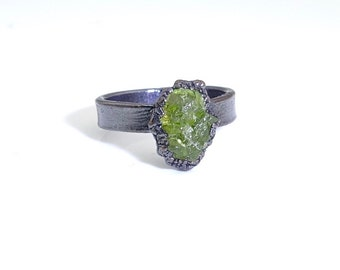 Raw peridot ring, peridot ring, raw ring, raw crystal ring, raw stone ring, electroformed ring, raw stone engagement ring, crystal ring