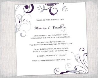 "Square Wedding invitation templates Silver gray / Amethyst purple ""Scroll"" invitations template printable YOU EDIT digital instant download"