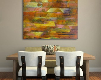 "Large abstract painting, contemporary fine art, geometric painting, acrylic on canvas, ""Tierra Luz II""- 26""x36"""