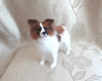 Needle Felted Custom Sculpture Portrait of Your Favorite Papillon Breed Dog 5-6 inches