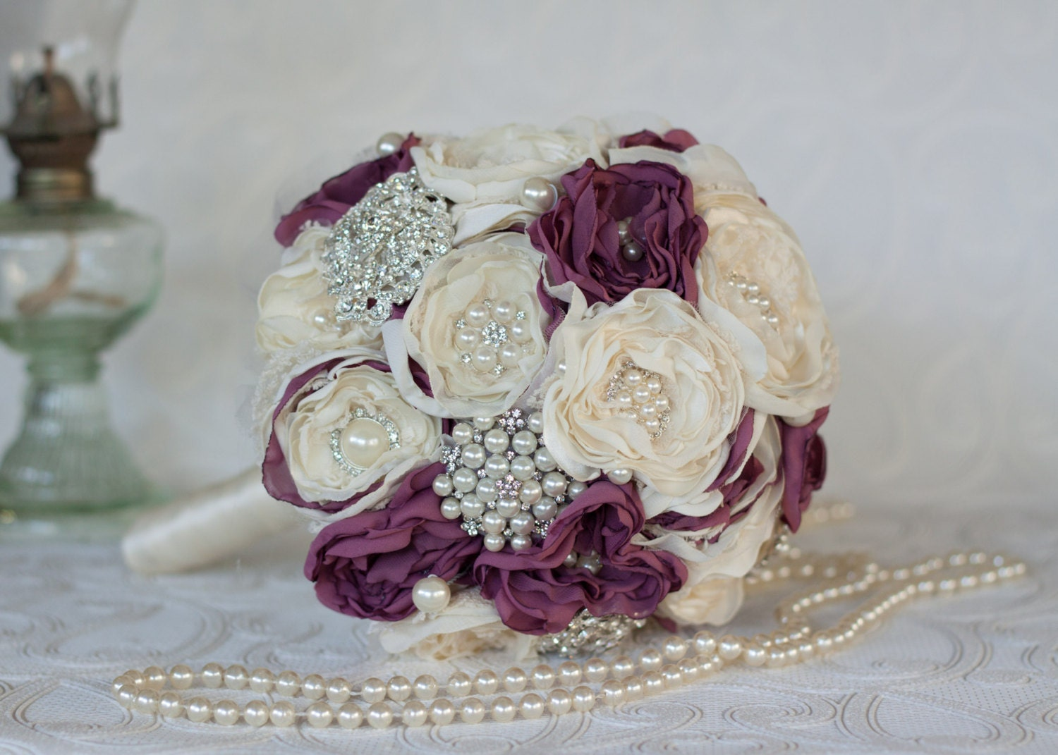 Fabric flower burlap and brooch wedding bouquet ivory and zoom izmirmasajfo