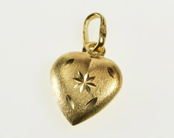 14K Diamond Cut Texture Heart Love Symbol Rounded Charm/Pendant Yellow Gold