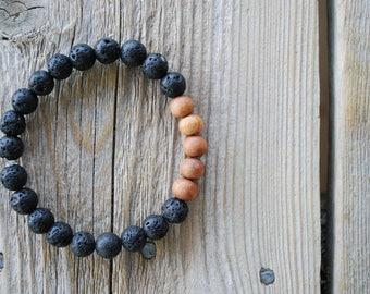 Mens essential oil diffuser bracelet yoga bracelet wood bracelet mala beads meditation beads yoga beads yoga jewelry sandalwood lava beads