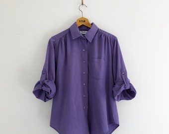 Vintage 80's Purple Rolled Sleeves Button Up Shirt M L
