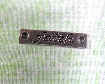 "Antique Silver Bar Link ""Faith""  Link 25 x 6mm (B370j1/j2)"