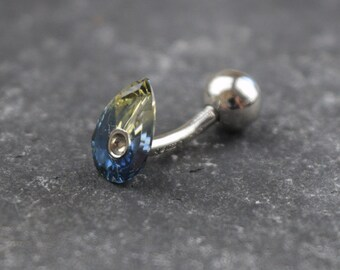 Navel Bar. Platinum and Sapphire Body Jewellery
