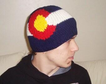 Knit Colorado Flag Hat - Hand knit Colorado hat handknit beanie hat - Colorado gifts